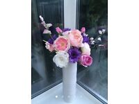 XL Peony & Gerbera Artificial Flower arrangement in tall white vase. 80cm