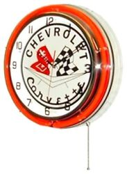 Neon 18 Tin Wall Clock Corvette Flags Red