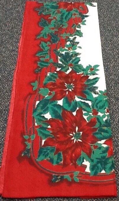 Vintage Christmas Tablecloth Poinsettia Evergreen Holly Berry White Red Green