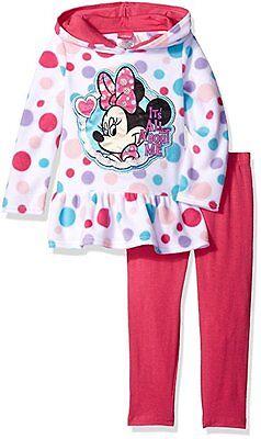 Disney Infant Girls 2PCS Minnie Mouse Fleece Hoodie and Printed Legging Set 24M
