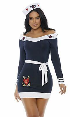 Sailor Captain Halloween Costume (Forplay Beloved Sailor Captain Navy Sexy Adult Womens Halloween Costume)