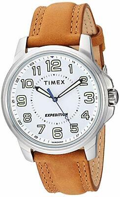 Timex TW4B16400, Men's Expedition Brown Leather Metal Field Watch, 50 Meter WR