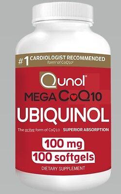 Qunol Mega 100Mg Coq10 Ubiquinol Supplement Superior Absorption 100 Softgels