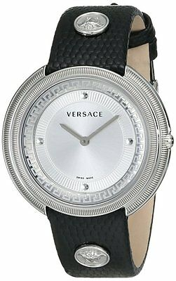 Versace Women's VA7010013 Thea Round Stainless Steel Silver Sunray Dial Watch