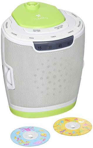 MyBaby SoundSpa Lullaby Sound Machine & Projector w/ 3 Image Discs
