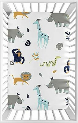 Used, Sweet Jojo Blue Grey Mod Jungle Safari Animal Baby Crib Fitted Sheet A6 for sale  Shipping to India