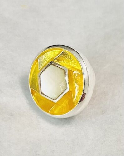 Authentic Kameleon Sterling Silver Yellow with Mother of Pearl Jewel Pop KJP747
