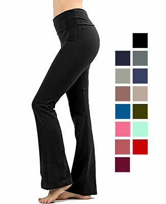 Premium Cotton Fold-Over Yoga Flare Pants Stretchy Workout Everyday Leggings Activewear