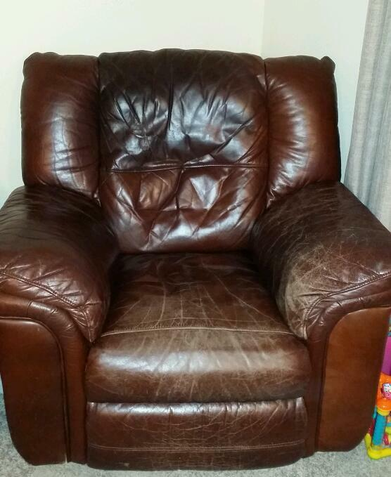 Leather sofa and two chairs