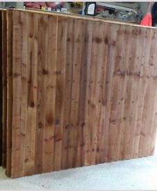 Tanalised & Brown feather edge fence panels