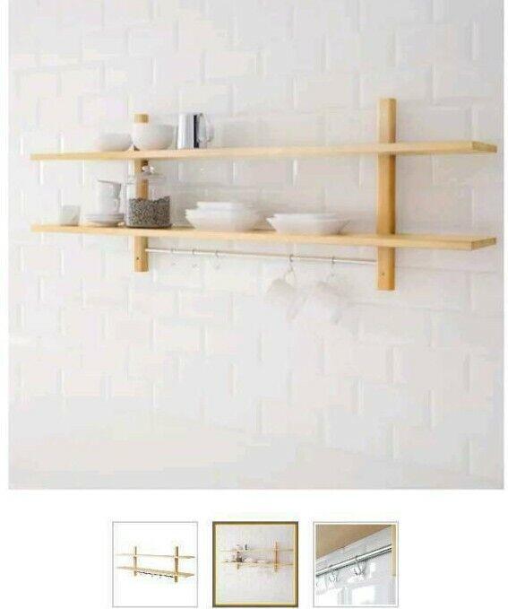 IKEA VÄRDE Wandregal mit 5 Haken; weiß; massive Buche; Küchenregal 140x50cm