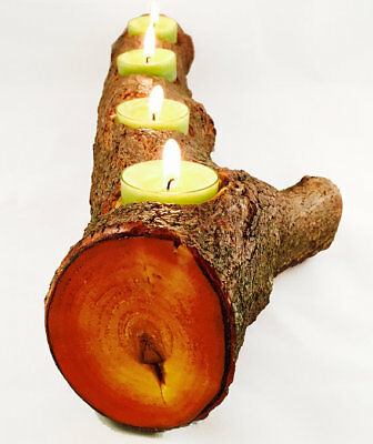 Full Log Branch Wood Tealight Candle Holder, Natural Cut Log Out Of Tree Wood (Tealight Log)