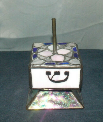 """UNIQUE VINTAGE STAINED GLASS""""DREIDEL""""WITH STAND! LOVELY PIECE OF ART! 5"""" X 3"""""""