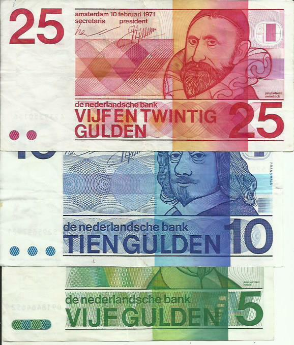NETHERLANDS LOT 5-10-25 GULDEN. VF+ CONDITION. 3RW 29 ABRIL