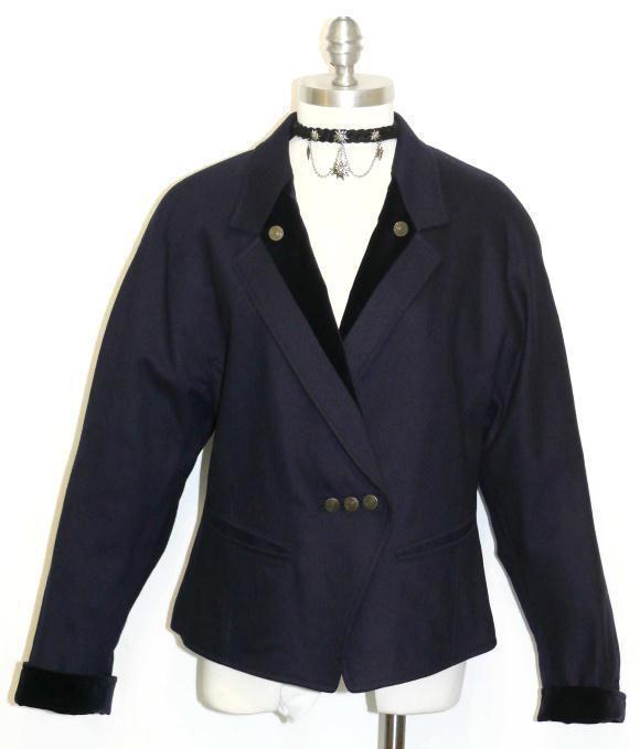"""LODENFREY BLUE JACKET WOOL CASHMERE Women Austria Evening Dress 42 10 M B40"""""""