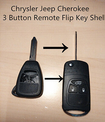 Chrysler Jeep Dodge  Cherokee 3 Button Remote Flip Key Shell case