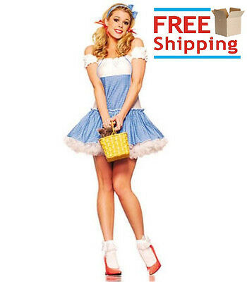 New Women's SWEET DOROTHY Halloween Adult Sexy Costume Outfit Set Wizard of Oz](Dorothy Halloween Costumes)