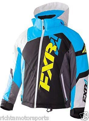 NEW FXR Youth Revo X Snowmobile Jacket ~ Blk/White Weave/Blu ~12~170406-1040-12