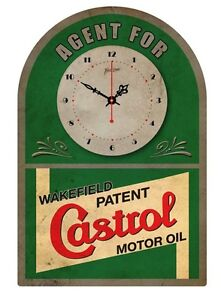 CASTROL MOTOR OIL VINTAGE  TIN SIGN CLOCK Agent for..