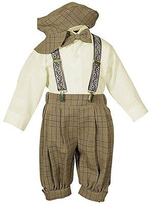 New Baby Toddler Boys Knickers Vintage Outfit Set Tuxedo Overall Pants Brown nwt Tuxedo-overall