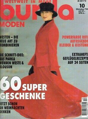 Burda Moden 10/1994 Aufregende Kleider & Kostüme in Powerfarbe ROT - Westen - Damen Mädchen Kostüm Anleitung