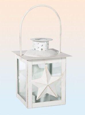 Laterne weiß Metalllaterne Motiv Stern Kerzenhalter Windlicht Antikfinish 15 cm