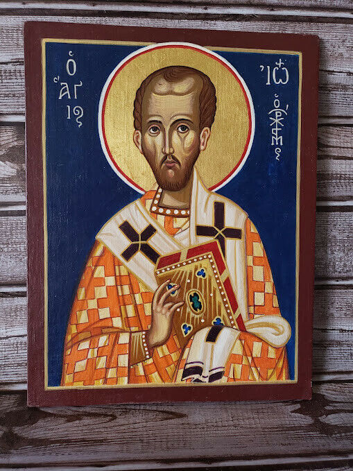 Large 11 X 14 Unknown Hand Painted Icon  - $14.00