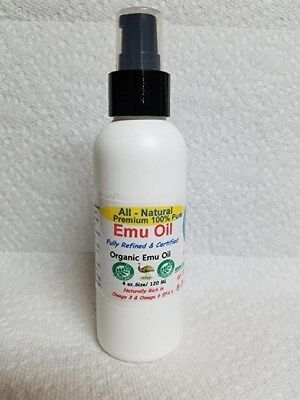 (4 oz.100%  Bottle Of Pure  Organic Certified  Emu Oil / with flip top and pump)