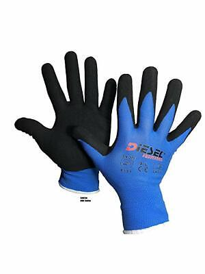 12 Pair Diesel Blue Safety Gloves Latex Coated Grip Cut Resistant-smlxl