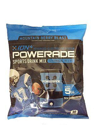 Powerade Powder Drink Mix, 5 gallon pouch bag Mountain Berry Blast (Blue)