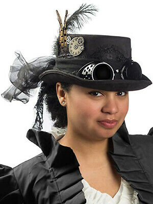 Steampunk Top Hat Deluxe Black Velvet with Removable Goggles Gears Feathers