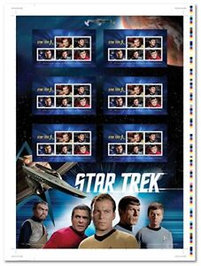 Limited edition uncut sheet of star trek stamps autographed