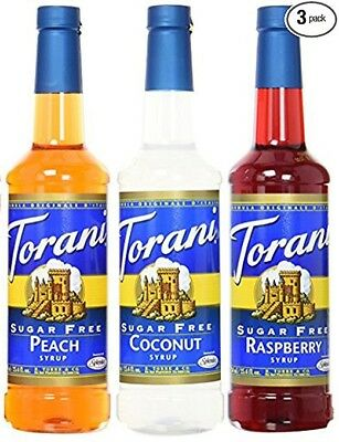 (Torani Sugar Free 3 Pack Fruit Favorites, Peach, Coconut & Raspberry)