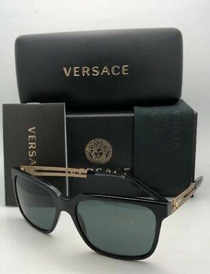New VERSACE Sunglasses VE 4307 GB1/87 58-17 Black & Gold Frames with Grey Lenses