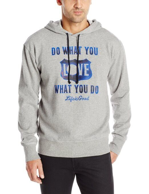 NWT~LIFE IS GOOD~Men's~DWYL Shield Go-To Hoodie Sweater~S L or XL~Gray~80%Cotton