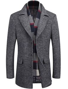 Men's Single Breasted Wool Coat With Removable Scarf