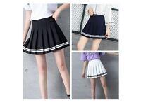 Black Pleated Mini Skirt Cheer Leader Style Sexy Preppy