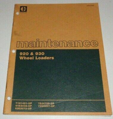 Caterpillar 920 930 Wheel Loader Maintenance Manual Original 280