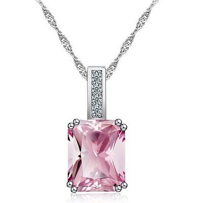 Sterling Silver Square Pink Birth Stone Pendant Necklace 18