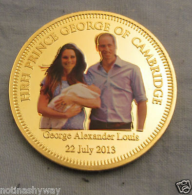 Prince George Baby Gold Jewel Inlaid Coin William & Kate Middleton Royal Family