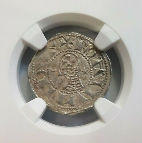 Antioch Bohemond IV NGC AU 53 Silver Denier Knights Templar Crusader Cross Coin