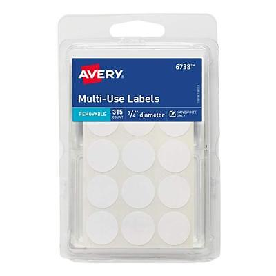 Avery Multi Use Labels 315ct Round White Avery Label Removable 34 New 6738