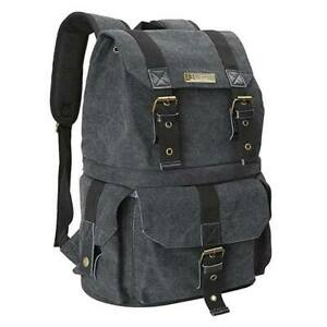 Evecase DSLR Camera & Lens Canvas Backpack with Rain Cover