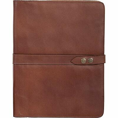 New Scully Italian Leather Snap Closure Writing Pad With Pen Brown