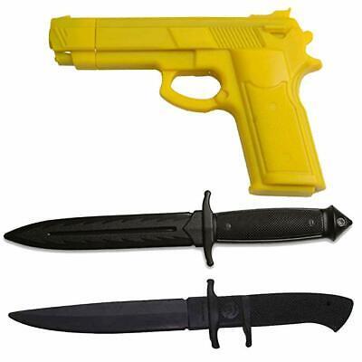 RUBBER PRACTICE  Dummy Gun & KNIFE Kit Training Costume Martial Arts Set Dummy Training Kit