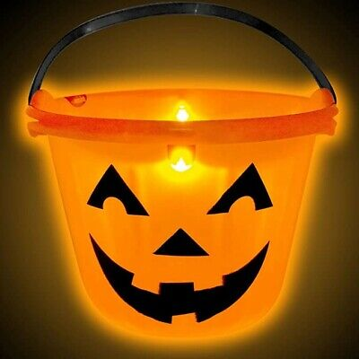 Halloween Trick or Treat Pumpkin Bucket Jack O Lantern Candy Handle Basket 6pack