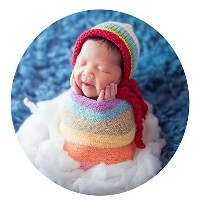Newborn Photo Shoot Rainbow Props: Baby Blanket & Wrap Hat