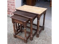 Dark Nest Of Three Solid Oak Coffee or Occasional Tables