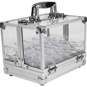 Clear acrylic poker case new with 200 chips
