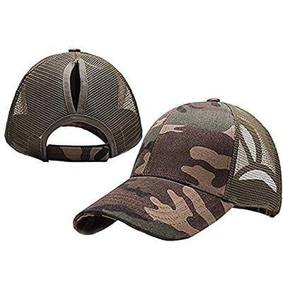 Camo Women Ponytail Baseball Cap Sequins Messy Bun Snapback Hat Sun Caps Lwx (Sequin Baseball Cap)